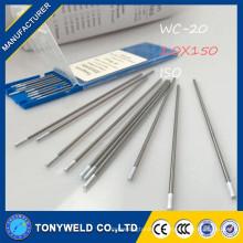WC-20 para electrodo de carburo de tungsteno TIG en varillas de soldadura