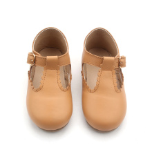 Venta al por mayor T bar Shoes Leather Baby Dress Shoes