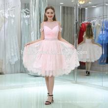 Einteiliges Partykleid der rosa Stickerei schönes Abendparty-Abnutzungskleid