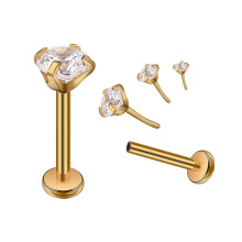 Nickel Free Surgical Steel Gold Plated Flat Back Push Threadless Prong Setting CZ Nose Studs Ear Helix Piercing