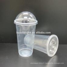 Tasses jetables en plastique claires de smoothie de la catégorie comestible 22oz / 650ml avec des couvercles