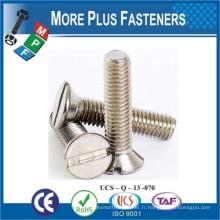 Fabriqué en Taiwan Vis à machine métrique DIN 963 DIN EN ISO 2009 Tête plate à fente Countersunk