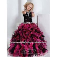 La nueva llegada rebordeó el vestido de bola con gradas rebordeado vestido por encargo púrpura negro de la muchacha de flor del desfile CWFaf4587