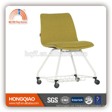 CV-B193BS fabric back&seat powder coating base with PU castor school chair office chair