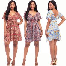 Богемия стиль женщины сексуальное платье молоко волокна материал глубокий V шеи платье с коротким рукавом цифровой печать платье