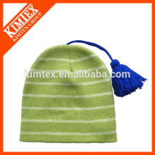 Moda de punto de invierno sombreros con cuerdas