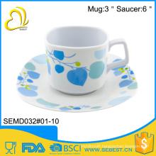 quality assurance plastic tea mug with melamine saucer