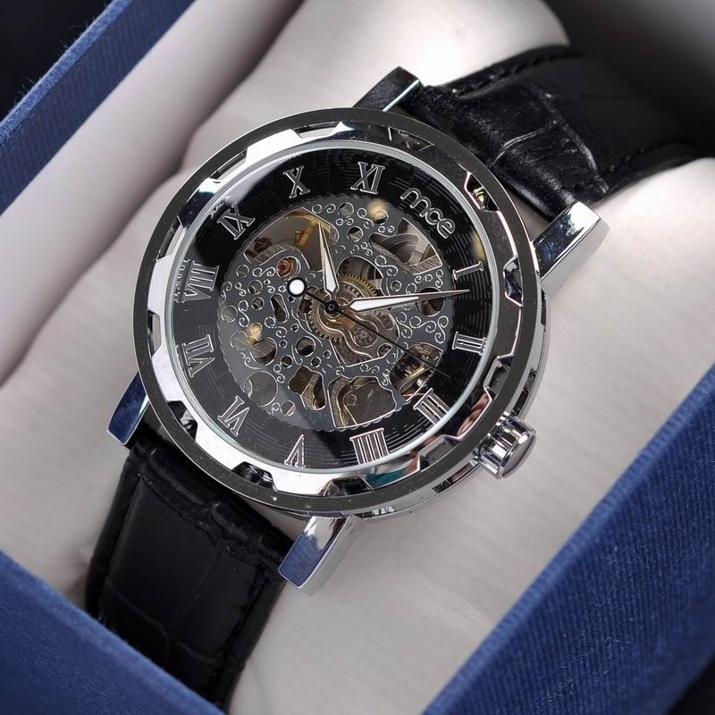 fashion skeleton machine leather wrist watch