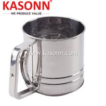 Tamiz de harina de cocina manual de acero inoxidable de 5 tazas