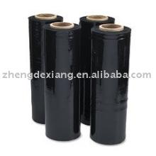 Película estirable de color negro /, Película extensible de PE para envoltura de paleta