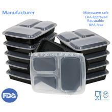 Envases de almacenamiento de comida de plástico Envases de preparación de comida de 3 compartimientos, fiambrera de Bento