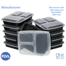Plastic Food Storage Containers 3 Compartment Meal Prep Containers, Bento Lunch Box