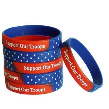 Fashion America Falg Printing Blue Silicone Bracelet Wrist Band