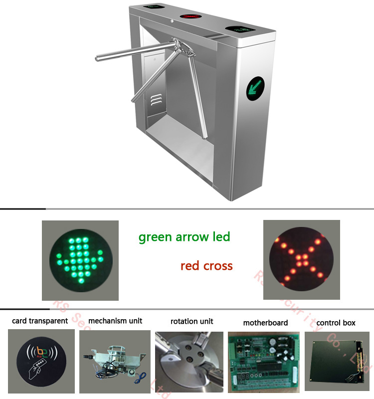 SS304 Outdoor Dual Lane Tripod Arm Turnstile