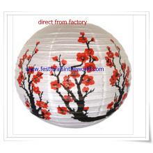 Pringting Flowers Taditional lanterna de papel chinesa para decoração do Festival