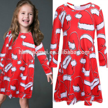 Western Christmas Costume Family Sweet Child Clothing Red Colorful Cartoon Christmas Tree Print Mother Daughter Matching Dress