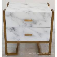 Verre de chevet avec cadre en métal blanc imprimé en marbre