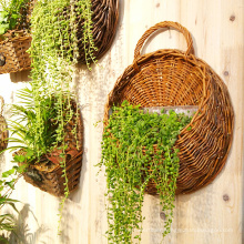Wholesale durable wicker rattan basket flower hanging flower girl baskets and planters for garden decoration