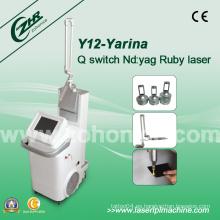 Y12 Q-Switch ND YAG Laser Remoción Tatuaje Peca Equipamiento