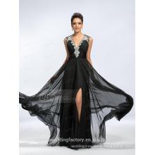 Alibaba Elegant Applique Long Nouveau Designer V Neck Black Chiffon Beach Robes de soirée ou Robe de demoiselle d'honneur LE16