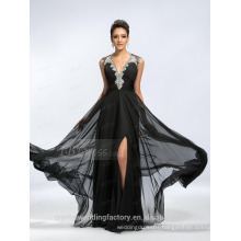 Alibaba Elegant Applique Long New Designer V Neck Black Chiffon Beach Evening Dresses Or Bridesmaid Dress LE16