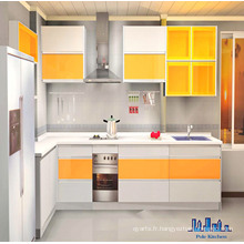 Pole White and Yellow MDF Paniting Cabinet de cuisine