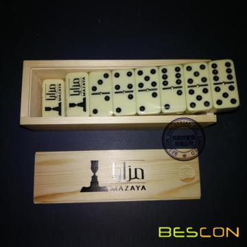 Double six domino game with custom logo printing and high quality wooden box packing