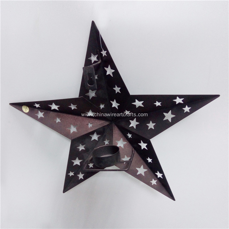 METAL WALL PUNCHED STAR CANDLE HOLDER WALL DECOR