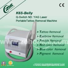 K6s 2014 Popular Mini Q-Switch láser tatuaje eliminación belleza máquina