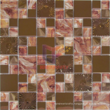 Wallpaper Backed Glass Mix Gold Stainless Steel Mosaic (CFM923)