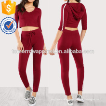 Striped Side Crop Hoodie Tee With Sweatpants Set Manufacture Wholesale Fashion Women Apparel (TA4050SS)