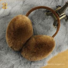 Invierno cálido unisex Sheared Cute Genuino Rex Rabbit Fur Ear Muffs