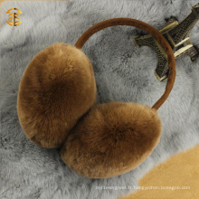 Hiver mûr unisexe ciselé Mignon mulettes réelles d'oreille en peau de lapin Rex