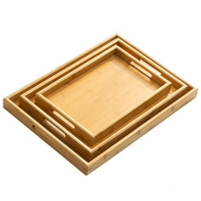 Solid Bamboo Organic Tea Serving Tray with Handle