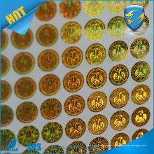 Anti-Fälschung Hochwertiger selbstklebender goldener Hologrammaufkleber