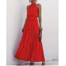 Robe longue imprimée en viscose pour femme en été