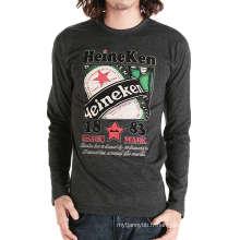 T-shirt à manches longues en coton imprimé personnalisé de mode en gros