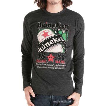 Langes Hülsen-T-Shirt der kundenspezifischen Großhandelsart- und weisedruckbaumwollmänner