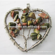 Heart shape Lucky tree pendant,Natural Gravel pendant,chip stone beads pendant heart shape