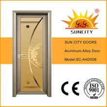 Las puertas del dormitorio de la venta caliente diseñan la puerta de aluminio del vidrio esmerilado