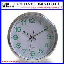 Luminoso 12 pulgadas de logotipo de impresión de plástico redondo reloj de pared (EP-Item12)