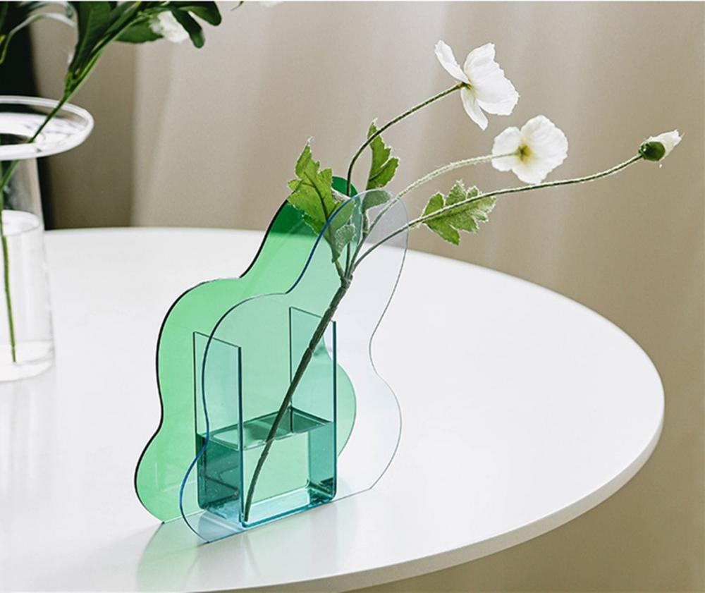 Acrylic Clear Creative Vase Green