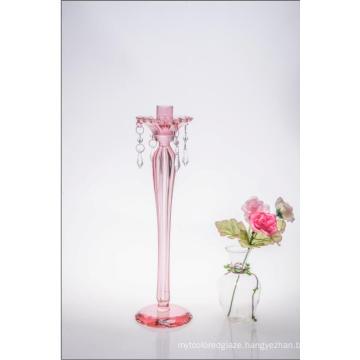 Pink Color Single Poster Glass Candle Holder for Wedding Decoration