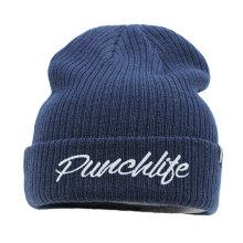 Design personalizado de alta qualidade wholeslae seu próprio bordado logotipo inverno chapéu de lã tricotada para homens