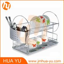 Panier à vaisselle à 2 niveaux en acier inoxydable 18/0 avec plateau chromé