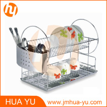 18/0 Stainless Steel 2-Tier Dish Rack with Chrome Tray