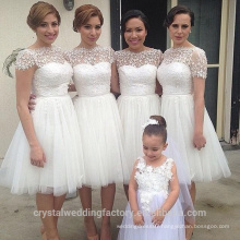 Wholesale Good Quality New Cheap Lace And Beaded formal Short A Line Beach Bridesmaid Dress With short sleeve LB26