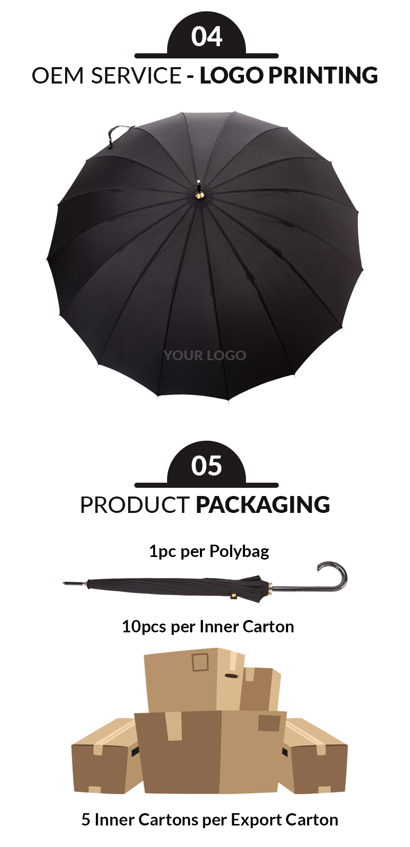 Lightweight 55cm 16ribs Women Straight Umbrellas