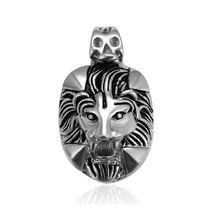 33408 xuping fashion design black gun color Stainless Steel jewelry lion head cross pendant