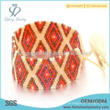 Bohemia bonita pulseira semente envoltório grânulo, handcrafted pulseiras para as mulheres